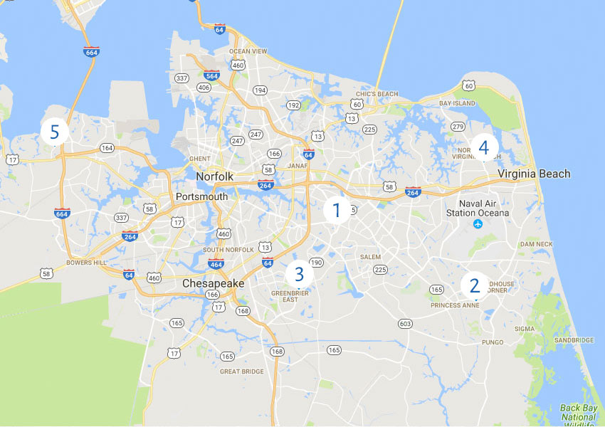 We Are Proud To Offer Care At 5 Convenient Locations In The Virginia Beach Communities